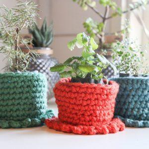 cachepo para vasos em lã natural